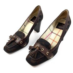 COACH Italy brown logo heeled tassel loafer pumps
